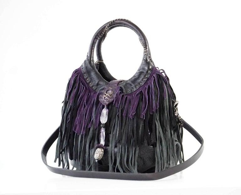 Henry Beguelin Bag Fringe Folies Bijoux Shoulder / Handbag Semi Precious Stones In Excellent Condition For Sale In Miami, FL