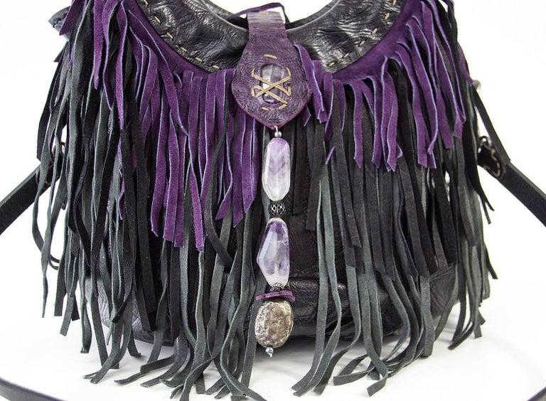 Black Henry Beguelin Bag Fringe Folies Bijoux Shoulder / Handbag Semi Precious Stones For Sale