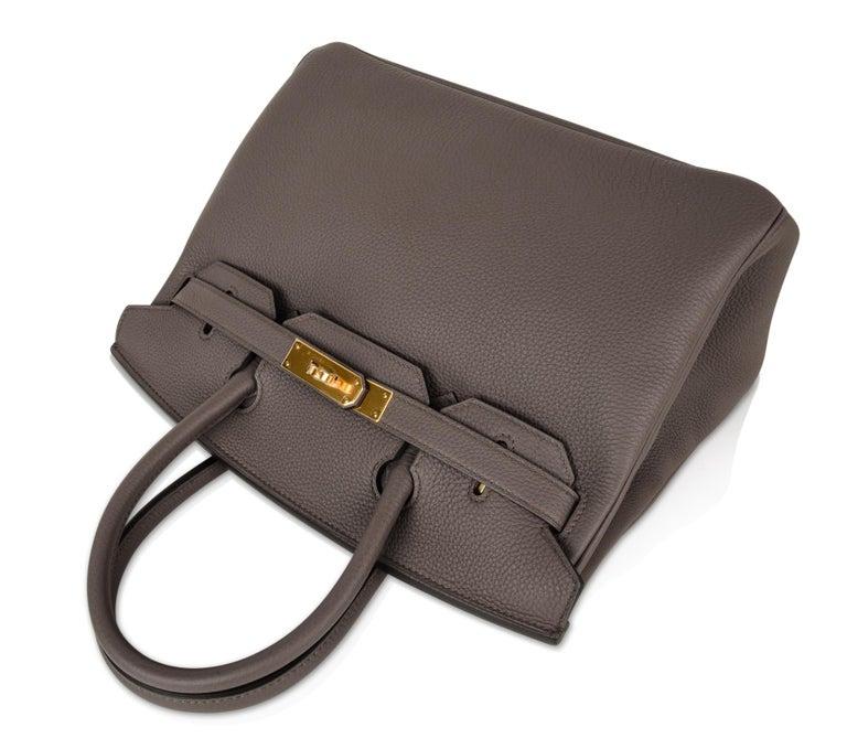 Hermes Birkin 30 Bag Etain Gray Gold Hardware Togo Leather For Sale 2