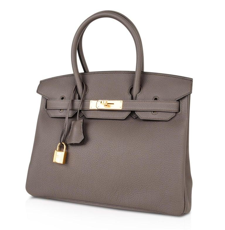 Hermes Birkin 30 Bag Etain Gray Gold Hardware Togo Leather For Sale 3