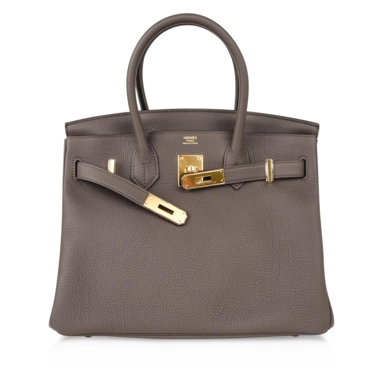 Hermes Birkin 30 Bag Etain Gray Gold Hardware Togo Leather For Sale 5