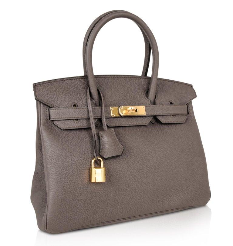 Hermes Birkin 30 Bag Etain Gray Gold Hardware Togo Leather For Sale 1