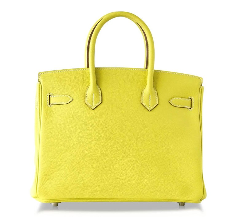 692be5f1efd9 Hermes Birkin 30 Bag Rare Lime Candy Gris Perle Interior Palladium Hardware  For Sale 2