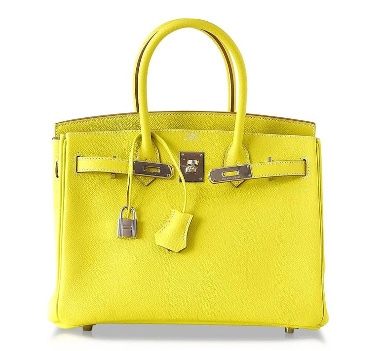 cf809e89d91e Hermes Birkin 30 Bag Rare Lime Candy Gris Perle Interior Palladium Hardware  For Sale 1