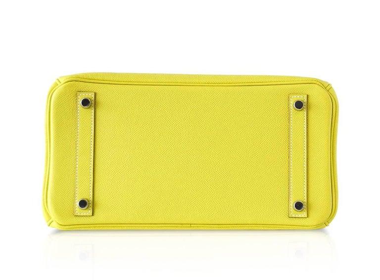 b69baacc5825 Hermes Birkin 30 Bag Rare Lime Candy Gris Perle Interior Palladium Hardware  For Sale 4