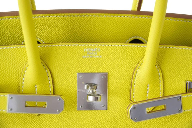 792e4c56e9f8 Guaranteed authentic exquisite Hermes 30 Birkin bag rare Limited Edition  Lime Candy with Gris Perle interior