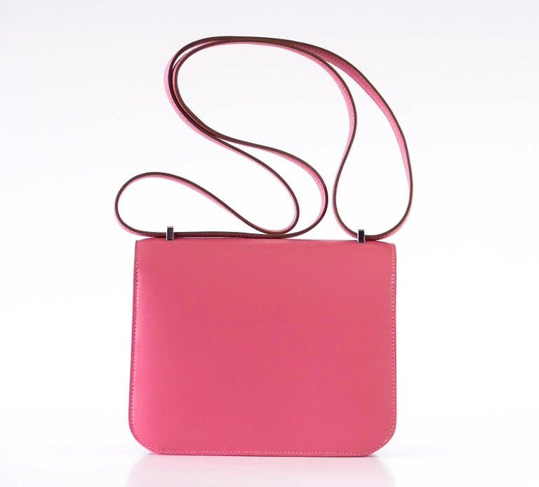 Hermes Rose Lipstick Pink 18 Mini III  Veau Tadelakt Constance Bag  In New Condition For Sale In Miami, FL