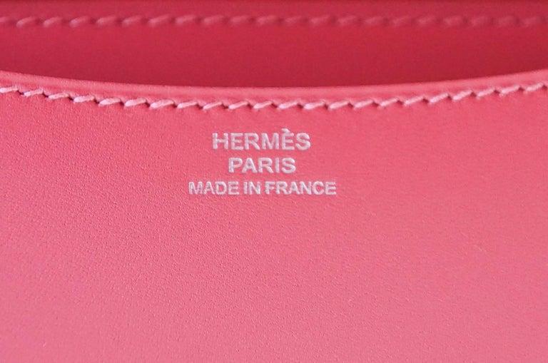 Hermes Rose Lipstick Pink 18 Mini III  Veau Tadelakt Constance Bag  For Sale 1