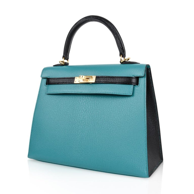 Hermes Kelly 25 Sellier Bag HSS Blue Paon / Black Chevre Mysore Gold For Sale 4
