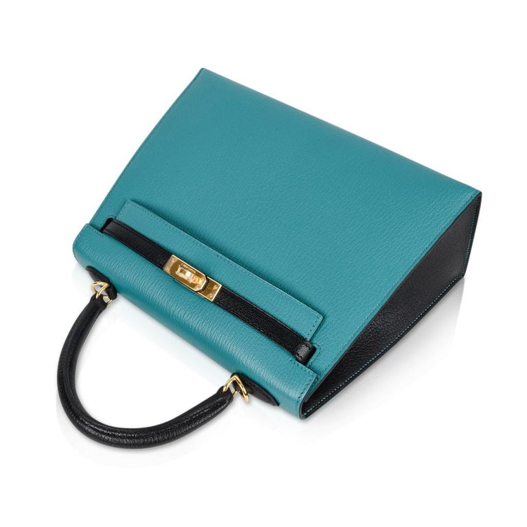 Hermes Kelly 25 Sellier Bag HSS Blue Paon / Black Chevre Mysore Gold For Sale 6