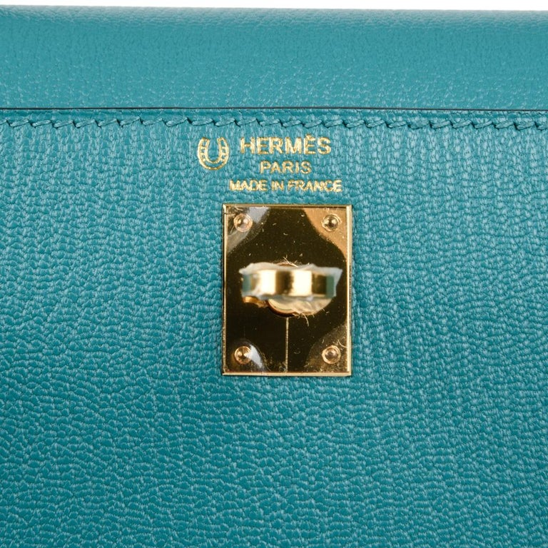 Hermes Kelly 25 Sellier Bag HSS Blue Paon / Black Chevre Mysore Gold In New Condition For Sale In Miami, FL