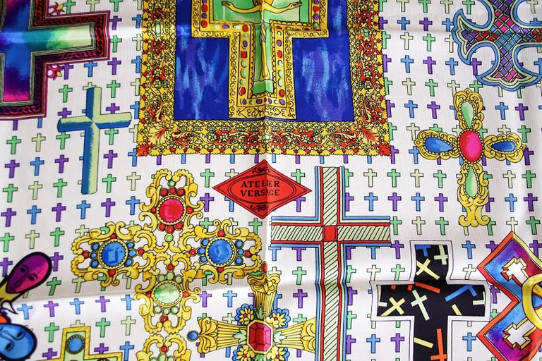 Beige Gianni Versace Atelier Vintage Scarf Silk Rich Cross Motif  New For Sale