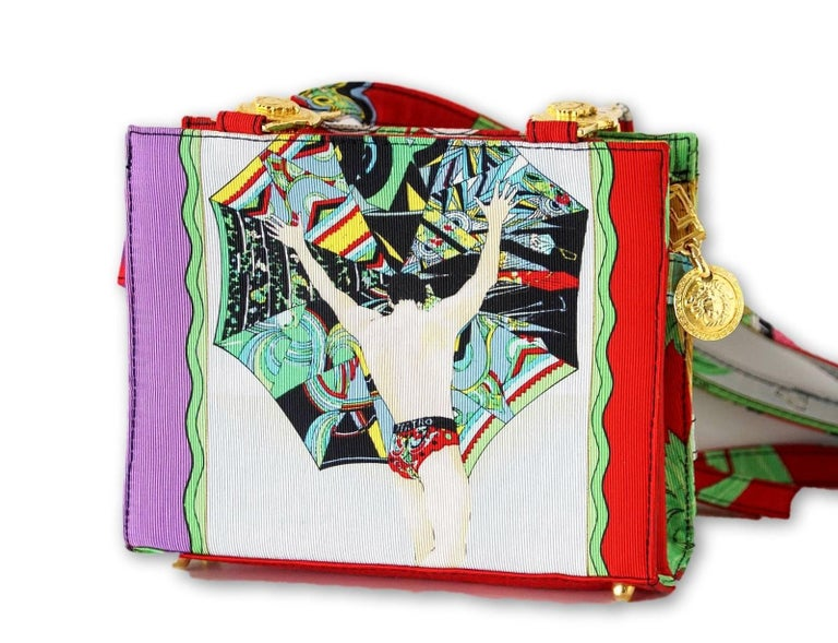 gianni versace couture vintage bag scarf print miami beach