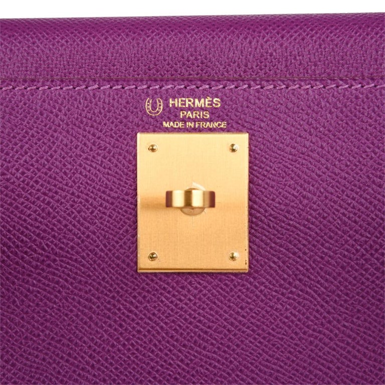 38b2e55f3a Purple Hermes Kelly 28 Bag HSS Anemone Pink Retourne Epsom Brushed Gold For  Sale