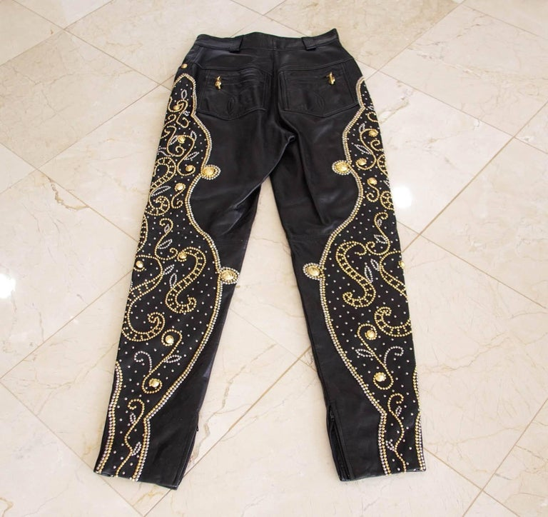 Women's Gianni Versace Pant Iconic Vintage Leather Studded Black For Sale