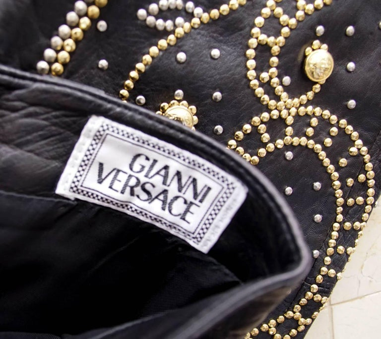 Gianni Versace Pant Iconic Vintage Leather Studded Black For Sale 1