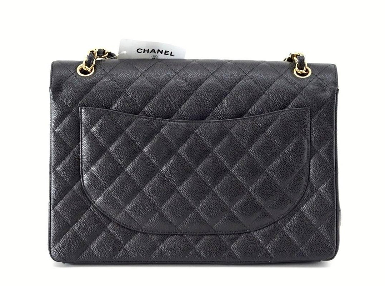 3710920c772e Chanel Bag Maxi Black Caviar Leather Gold Hardware at 1stdibs