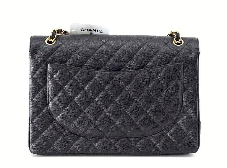 0f435527fe3e Chanel Bag Maxi Black Caviar Leather Gold Hardware In New Condition For Sale  In Miami,
