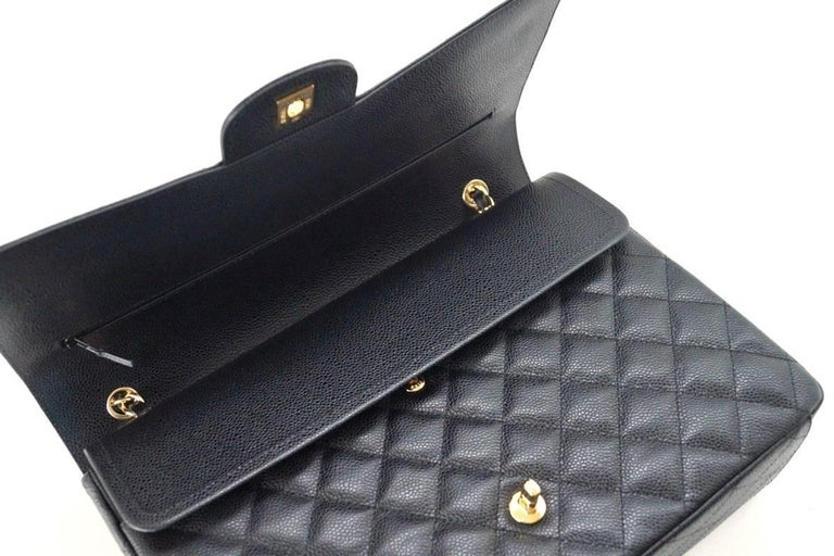 Women's Chanel Bag Maxi Black Caviar Leather Gold Hardware   For Sale