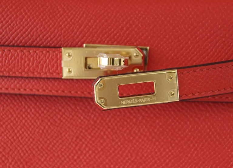 Hermes Kelly 20 Mini Kelly II Limited Edition Rouge Tomate Epsom Gold 2