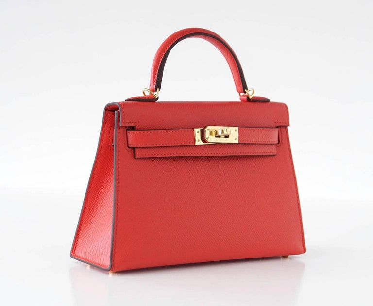 Hermes Kelly 20 Mini Kelly II Limited Edition Rouge Tomate Epsom Gold 4