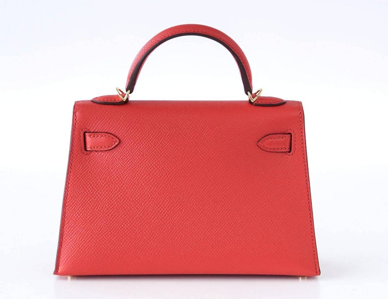 Hermes Kelly 20 Mini Kelly II Limited Edition Rouge Tomate Epsom Gold 5