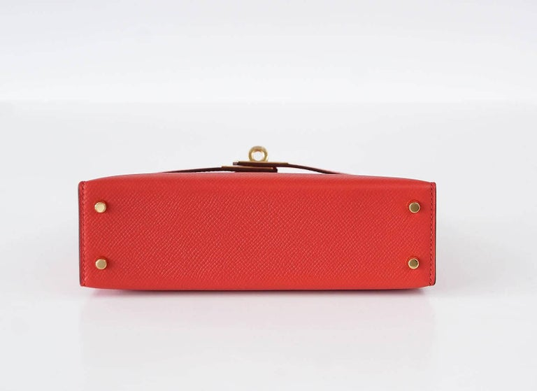 Hermes Kelly 20 Mini Kelly II Limited Edition Rouge Tomate Epsom Gold 6