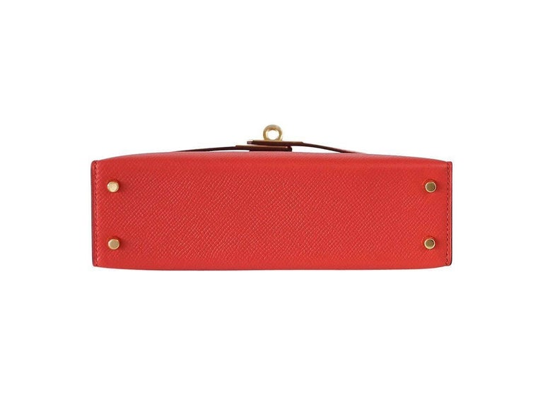 Hermes Kelly 20 Mini Kelly II Limited Edition Rouge Tomate Epsom Gold In New never worn Condition For Sale In Miami, FL