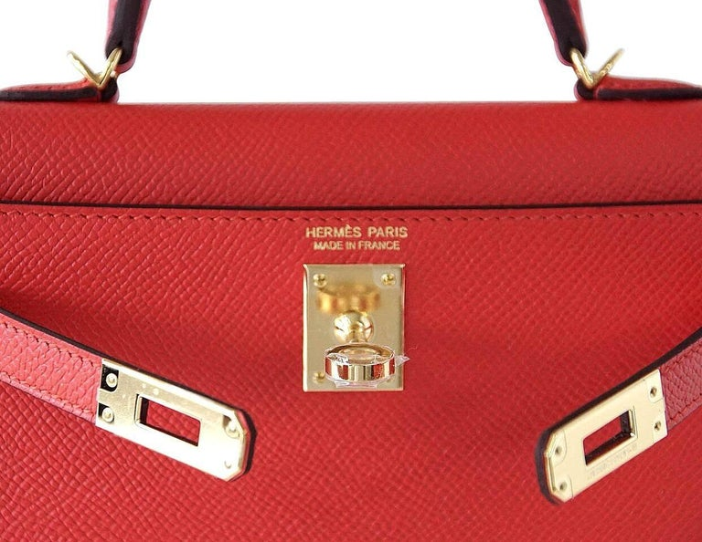 Women's Hermes Kelly 20 Mini Kelly II Limited Edition Rouge Tomate Epsom Gold For Sale