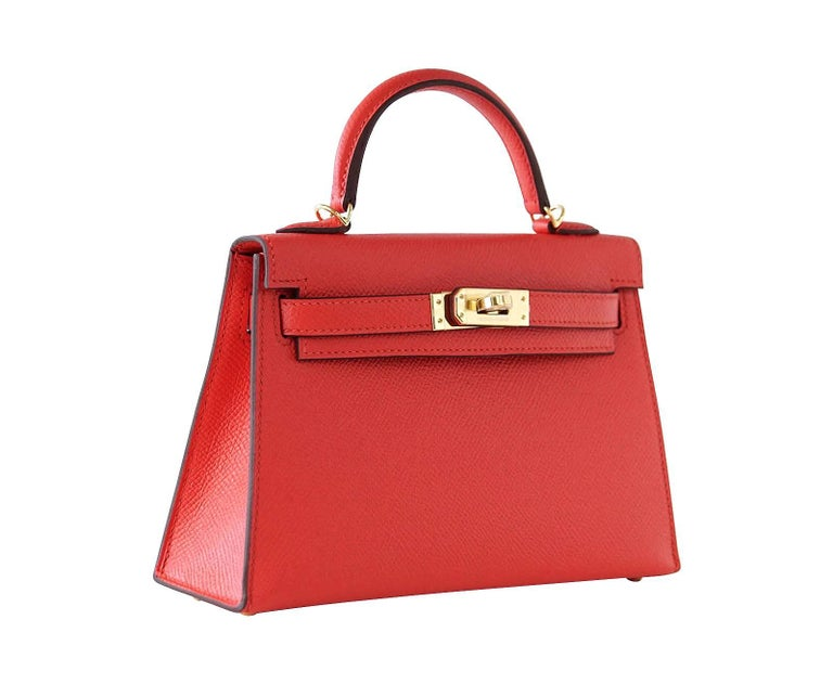 Hermes Kelly 20 Mini Kelly II Limited Edition Rouge Tomate Epsom Gold For Sale 1