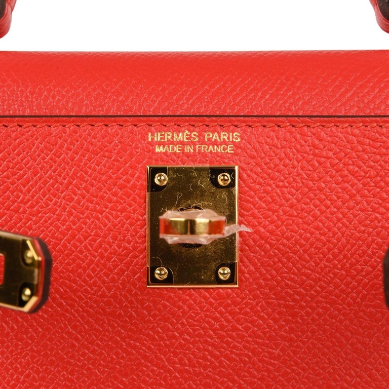Mightychic offers a guaranteed authentic  Hermes Kelly Sellier 20 bag is featured in Rouge Tomate.  This Kelly Sellier bag is stunning with gold hardware.    Epsom leather is known to reveal the most beautiful saturation in colours. Comes with