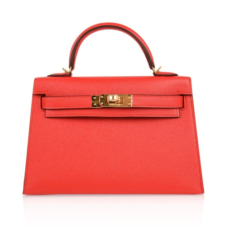 Hermes Kelly Sellier 20 Rouge Tomate Epsom Leather Gold Hardware New w/Box For Sale 2