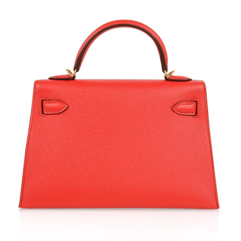 Hermes Kelly Sellier 20 Rouge Tomate Epsom Leather Gold Hardware New w/Box For Sale 3