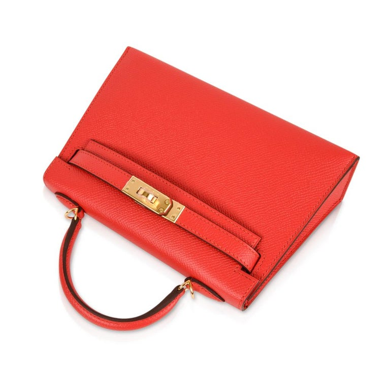 Hermes Kelly Sellier 20 Rouge Tomate Epsom Leather Gold Hardware New w/Box For Sale 1