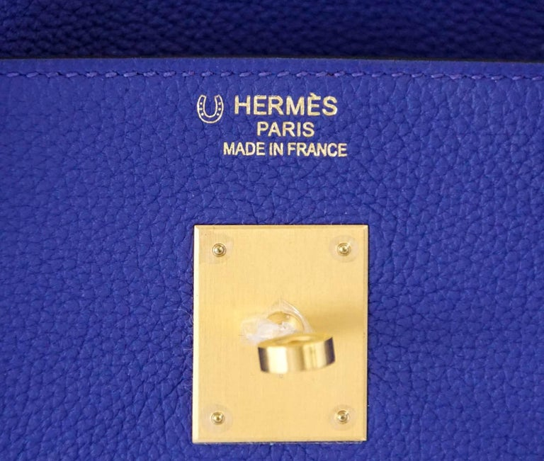 Hermes Birkin 40 Bag Electric Blue Rose Jaipur Horseshoe Brushed Gold Hardware 3