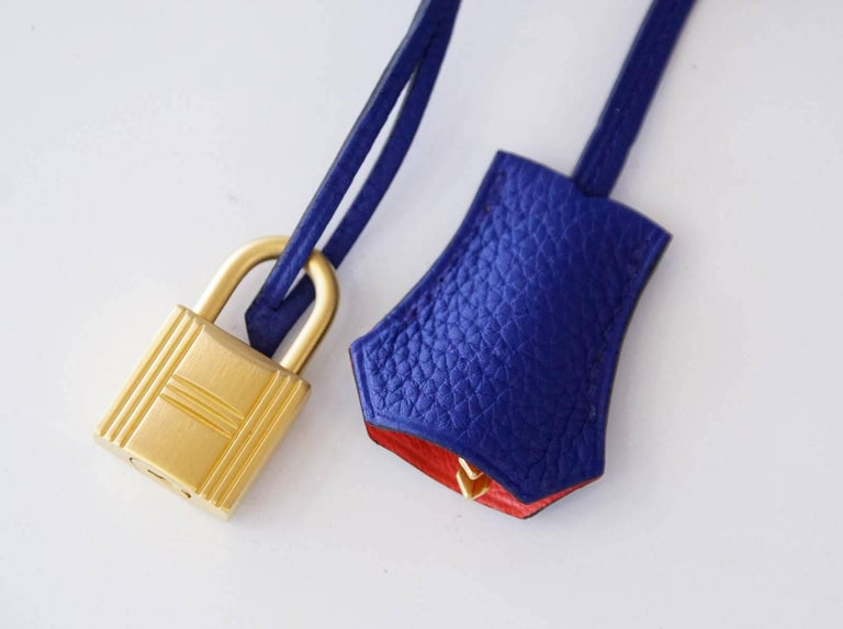 Hermes Birkin 40 Bag Electric Blue Rose Jaipur Horseshoe Brushed Gold Hardware 4