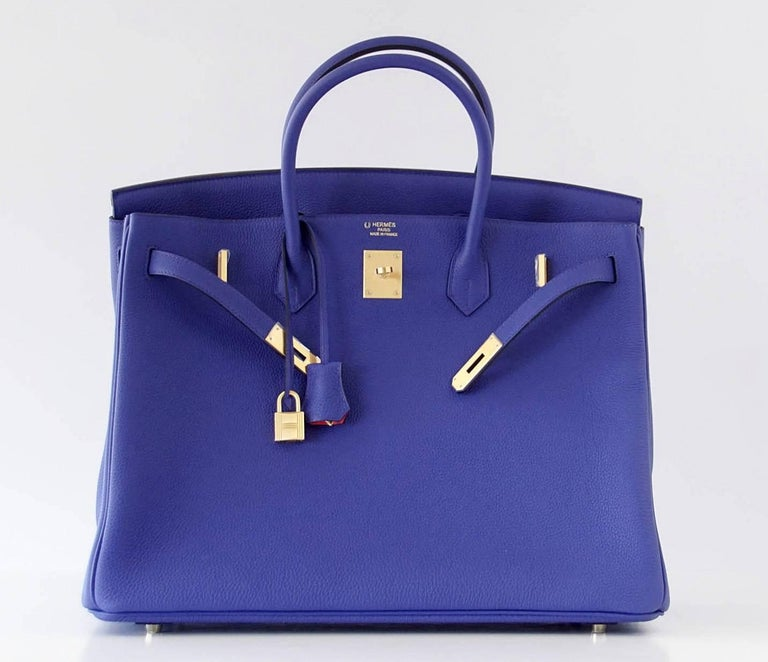 Hermes Birkin 40 Bag Electric Blue Rose Jaipur Horseshoe Brushed Gold Hardware 5