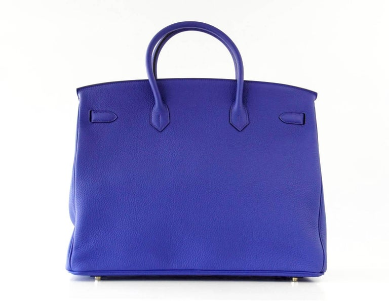 Hermes Birkin 40 Bag Electric Blue Rose Jaipur Horseshoe Brushed Gold Hardware 7
