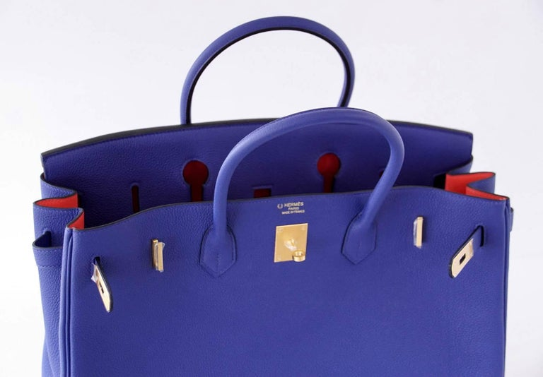 Hermes Birkin 40 Bag Electric Blue Rose Jaipur Horseshoe Brushed Gold Hardware 6
