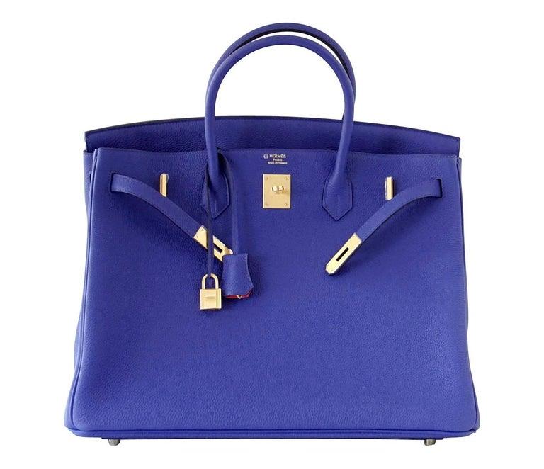 Hermes Birkin 40 Bag HSS Electric Blue Rose Jaipur Togo SO Brushed Gold Hardware For Sale 1