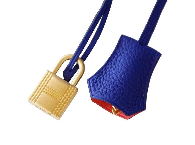 Purple Hermes Birkin 40 Bag HSS Electric Blue Rose Jaipur Togo SO Brushed Gold Hardware For Sale