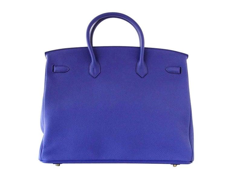 Hermes Birkin 40 Bag HSS Electric Blue Rose Jaipur Togo SO Brushed Gold Hardware For Sale 2