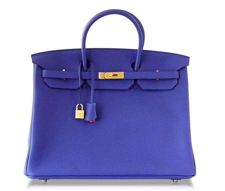 Hermes Birkin 40 Bag HSS Electric Blue Rose Jaipur Togo SO Brushed Gold Hardware For Sale 3