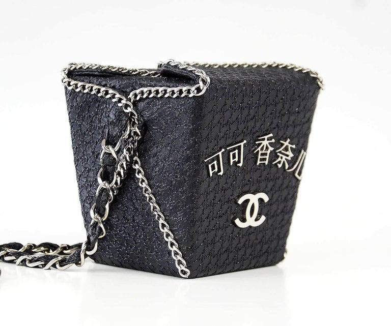 d5cf3d117eb2 Black Chanel Take Away Box Bag Rare Limited Edition Runway Shanghai  Collection For Sale