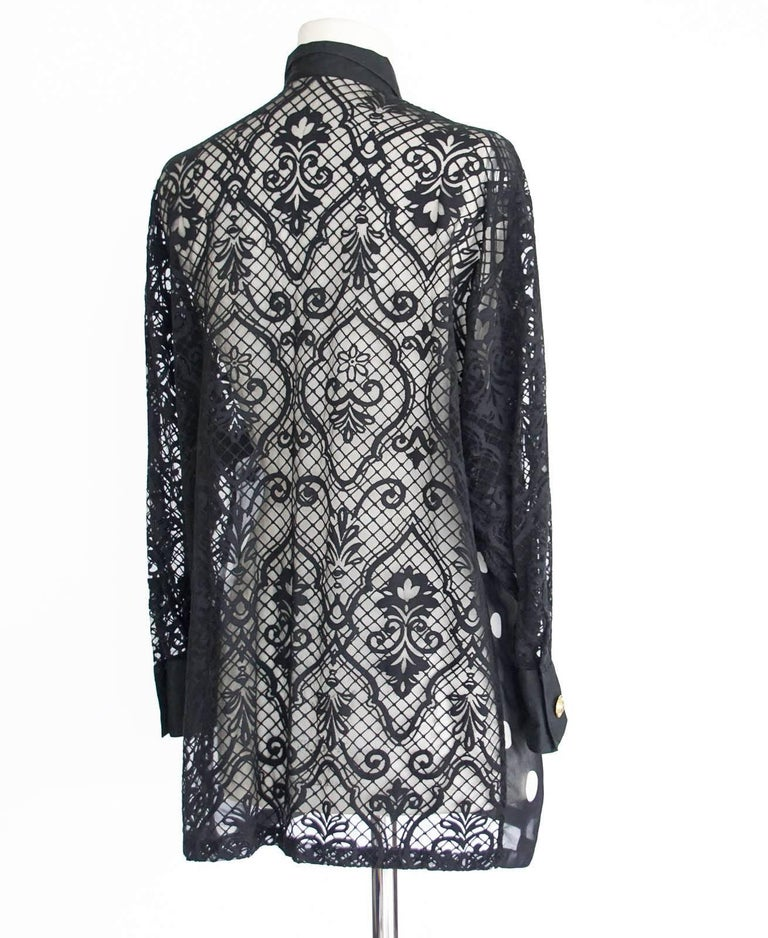 Gianni Versace Couture Top Black and White Polka Dot Lace Back  38 / 4 3