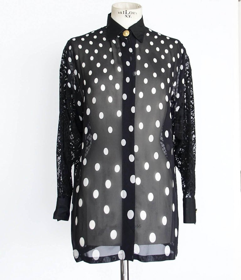 Gianni Versace Couture Top Black and White Polka Dot Lace Back  38 / 4 4