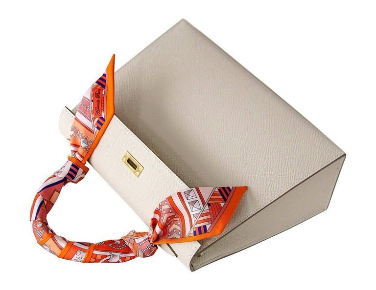 Women's Hermes Neutral Craie Epsom Gold Hardware with Twilly Kelly 25 Sellier Bag  For Sale