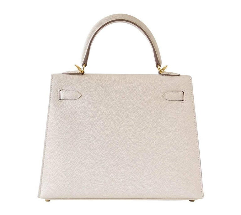 Hermes Neutral Craie Epsom Gold Hardware with Twilly Kelly 25 Sellier Bag  For Sale 2