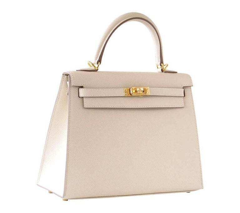 Hermes Neutral Craie Epsom Gold Hardware with Twilly Kelly 25 Sellier Bag  For Sale 3