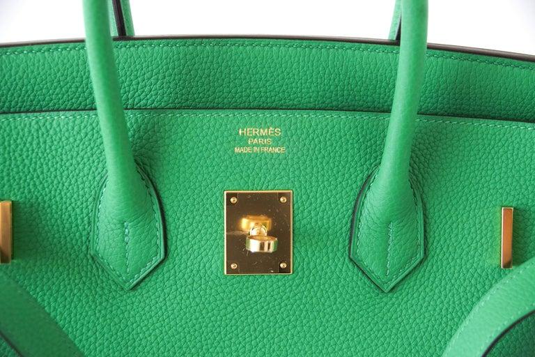 Women s Hermes Birkin 35 Bamboo Green Togo Gold Hardware For Sale 3adde111cb07e
